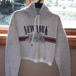 Women's Gray Cropped Hoodie